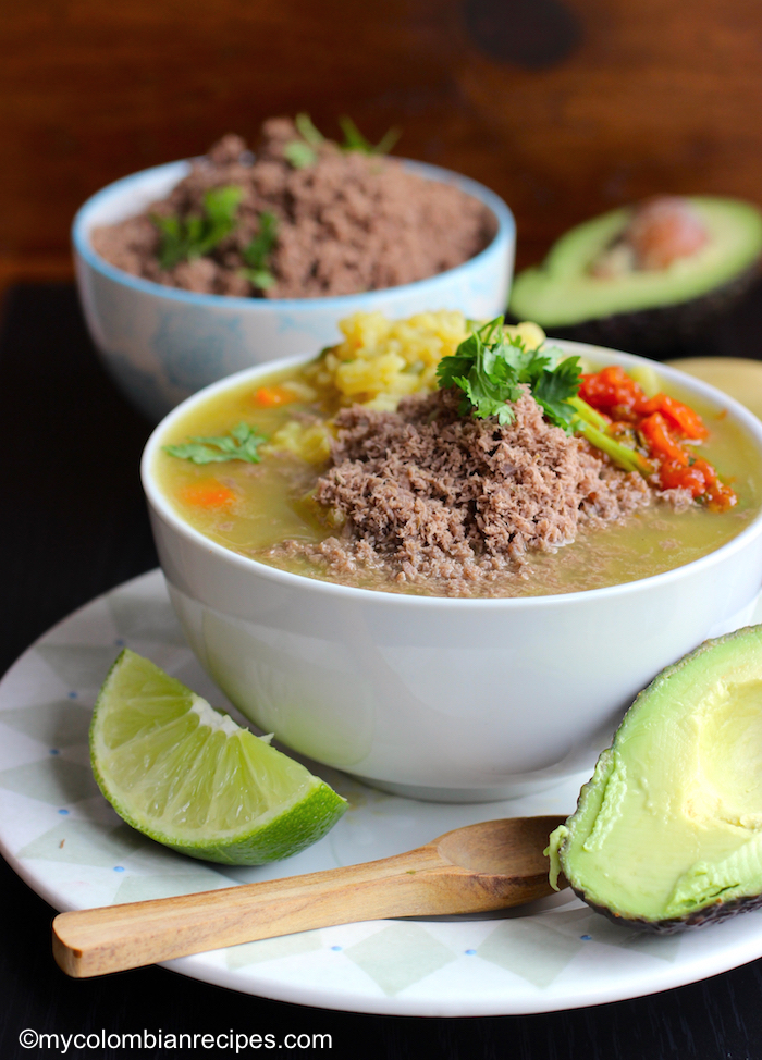 Sopa de Arroz con Carne en Polvo (Rice Soup with Powdered Beef)|mycolombianrecipes.com