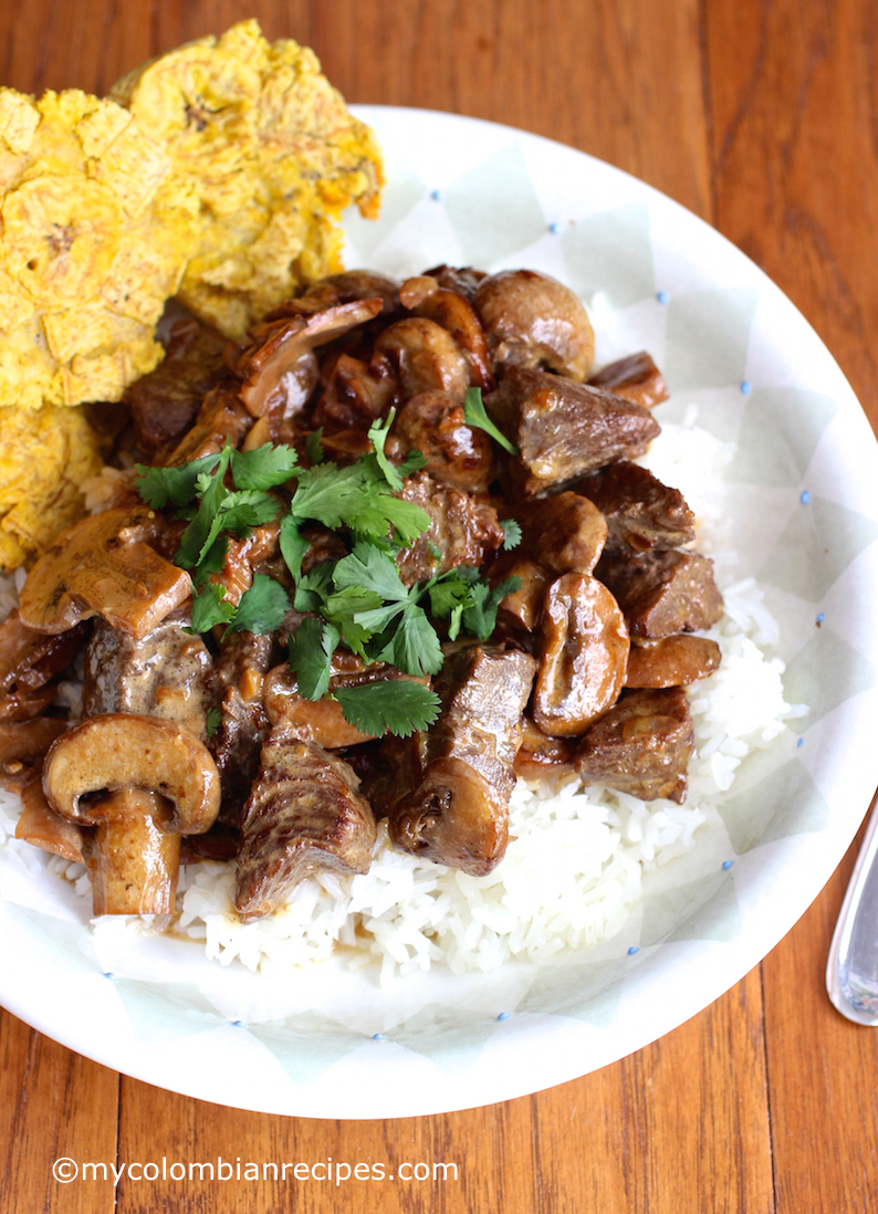 Carne con Championes Beef with Mushrooms My Colombian