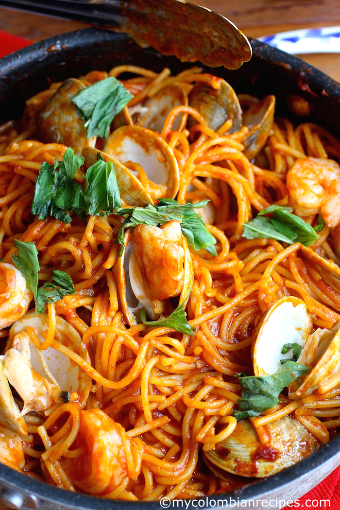 One Pot Tomato And Seafood Pasta My Colombian Recipes