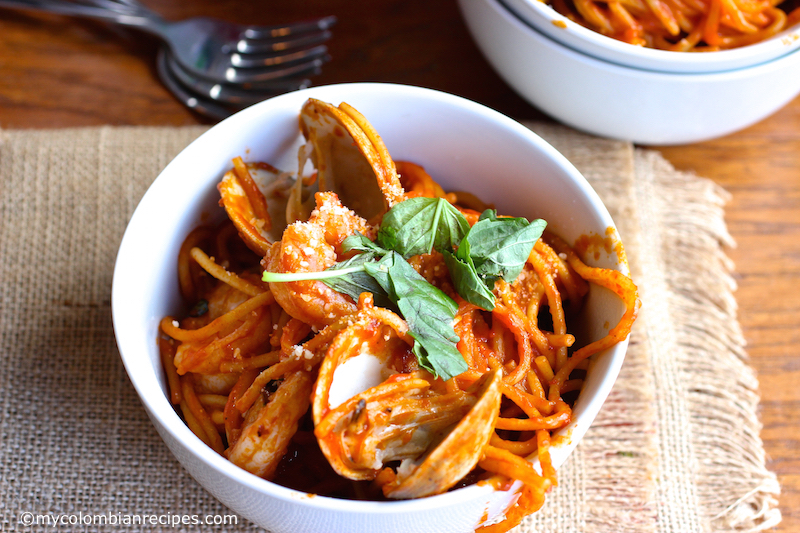 One Pot Tomato and Seafood Pasta