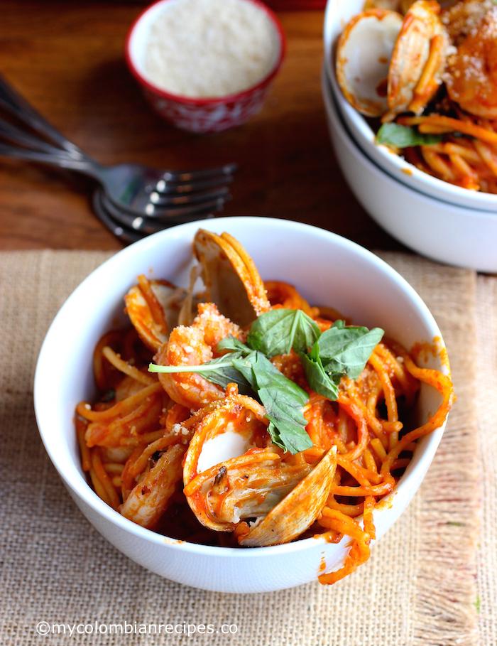 One Pot Tomato and Seafood Pasta  mycolombianrecipes.com