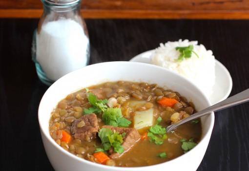 """<span class=""""p-name"""">Sopa de Lentejas con Carne (Lentils and Beef Soup)</span>"""