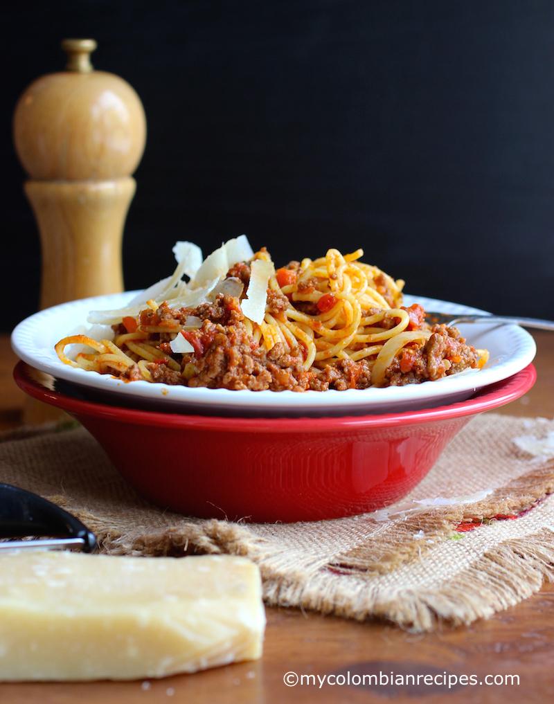 Barilla® Spaghetti with San Marzano Tomato Meat Sauce |mycolombianrecipes.com