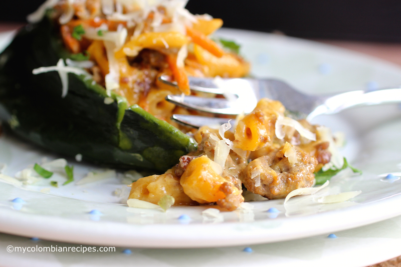 Three Cheese Hamburger Helper® Stuffed Poblano Peppers