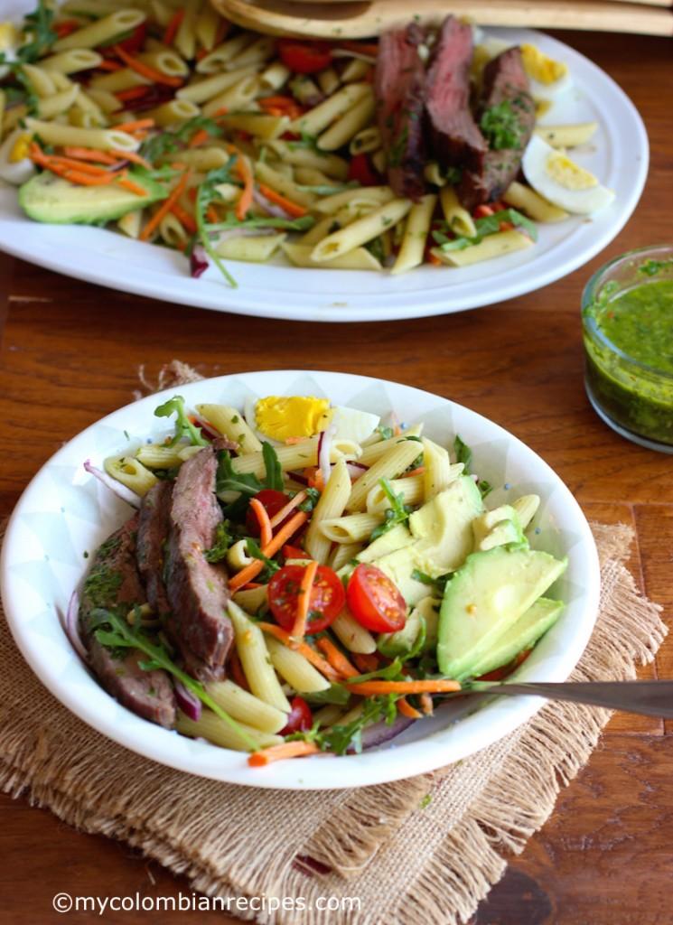 Penne Pasta, Steak and Chimichurri Salad