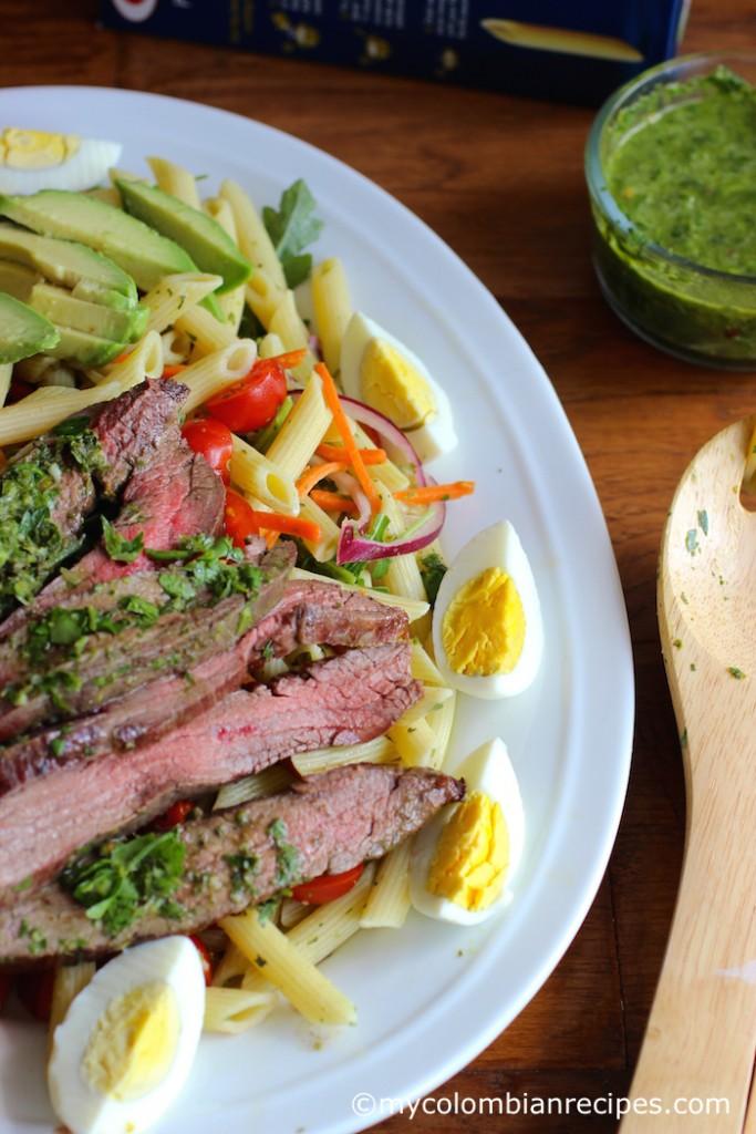 Penne Pasta and Steak salad