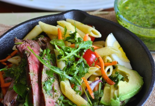 "<span class=""p-name"">Penne Pasta, Steak and Chimichurri Salad</span>"