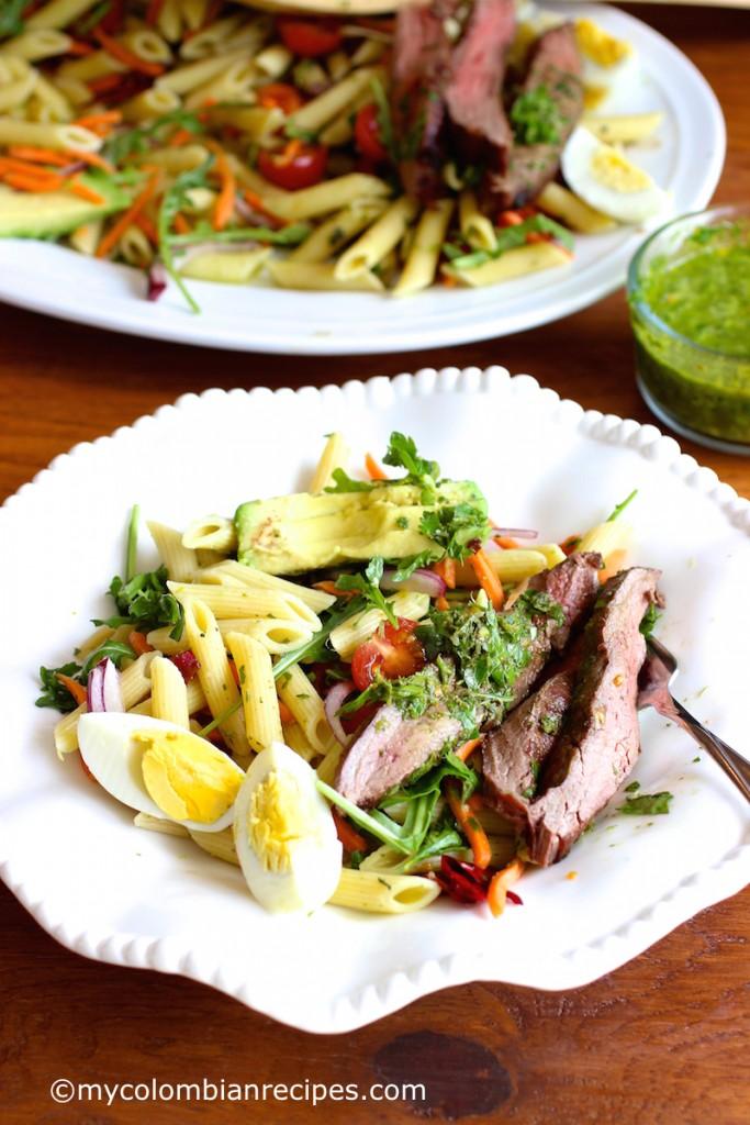 pasta and steak salad
