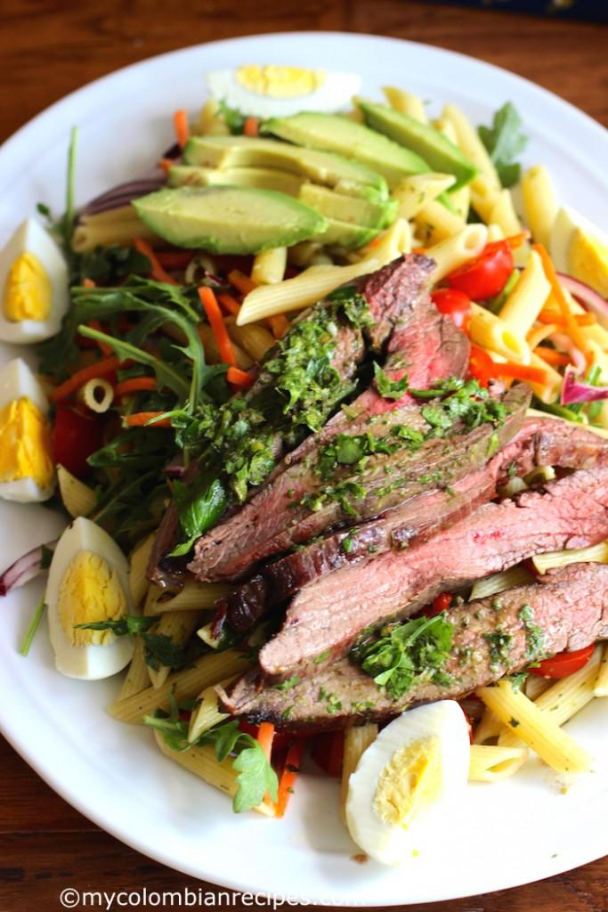 Penne Pasta, Steak and Chimichurri Salad \mycolombianrecipes.com