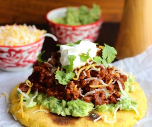 Arepas with Beef Chili, Guacamole and Cheese |mycolombianrecipes.com