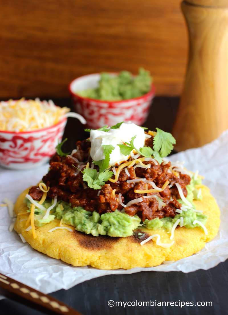 Arepas with Beef Chili, Guacamole and Cheese   My ...