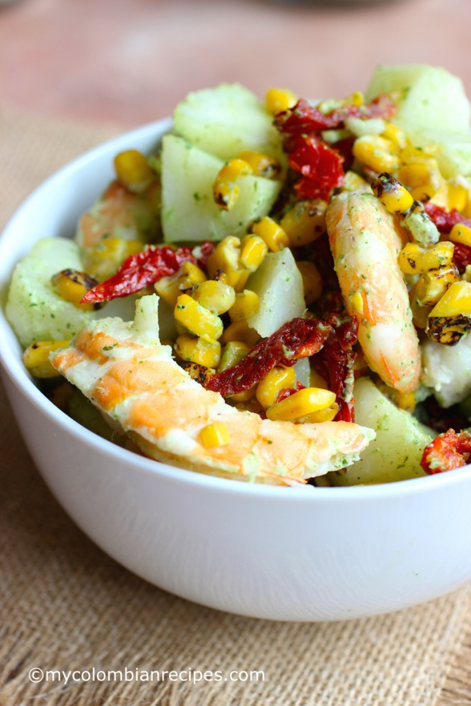 Potato and Shrimp Salad with Cilantro and Lime Dressing  mycolombianrecipes.com