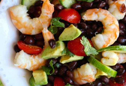 Shrimp, Black Beans and Avocado Salad