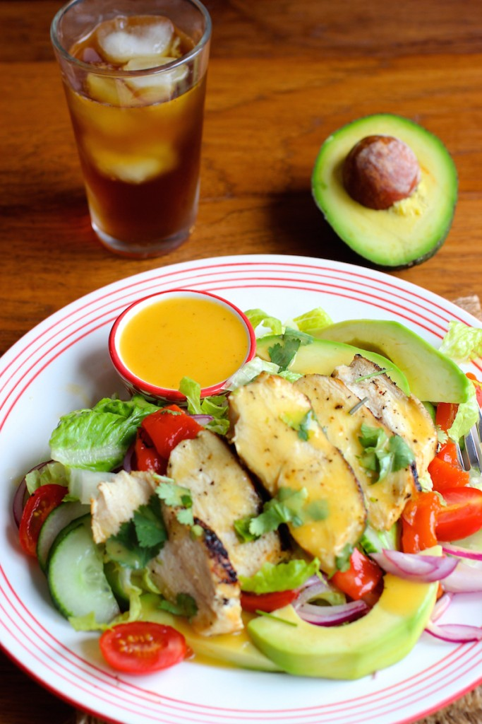 Grilled Chicken Salad with Mango Chipotle Dressing  mycolombianrecipes.com