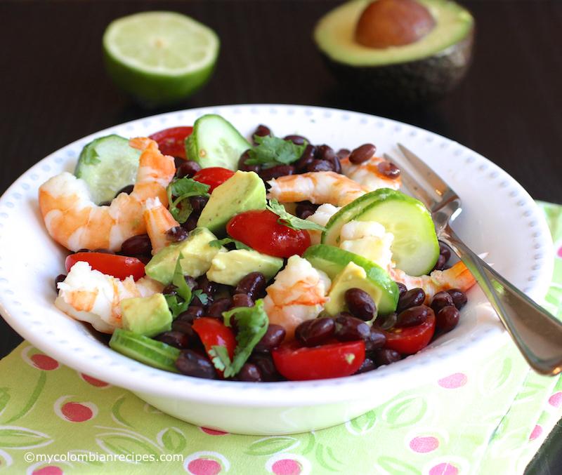 Shrimp, Avocado and Black Bean Salad  mycolombianrecipes.com