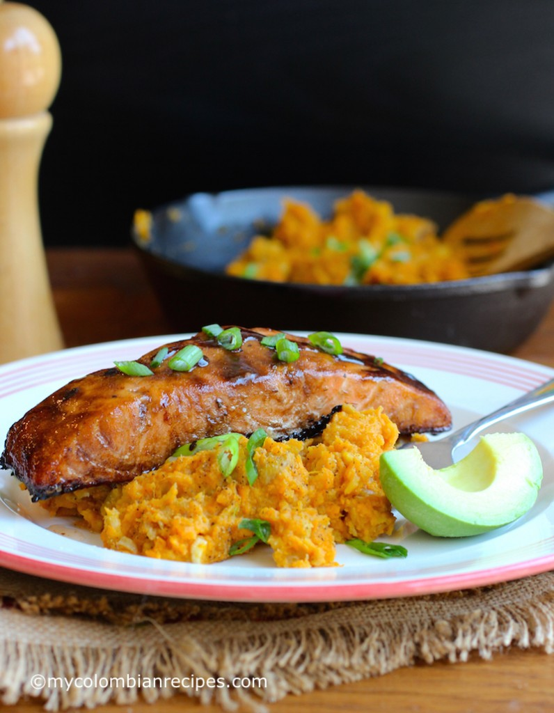 Sweet Balsamic Salmon with Mashed Sweet Potato and Plantain  |mycolombianrecipes.com