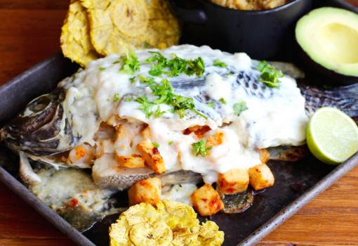 Pescado Relleno de Mariscos (Whole Fish Filled with Seafood) |mycolombianrecipes.com