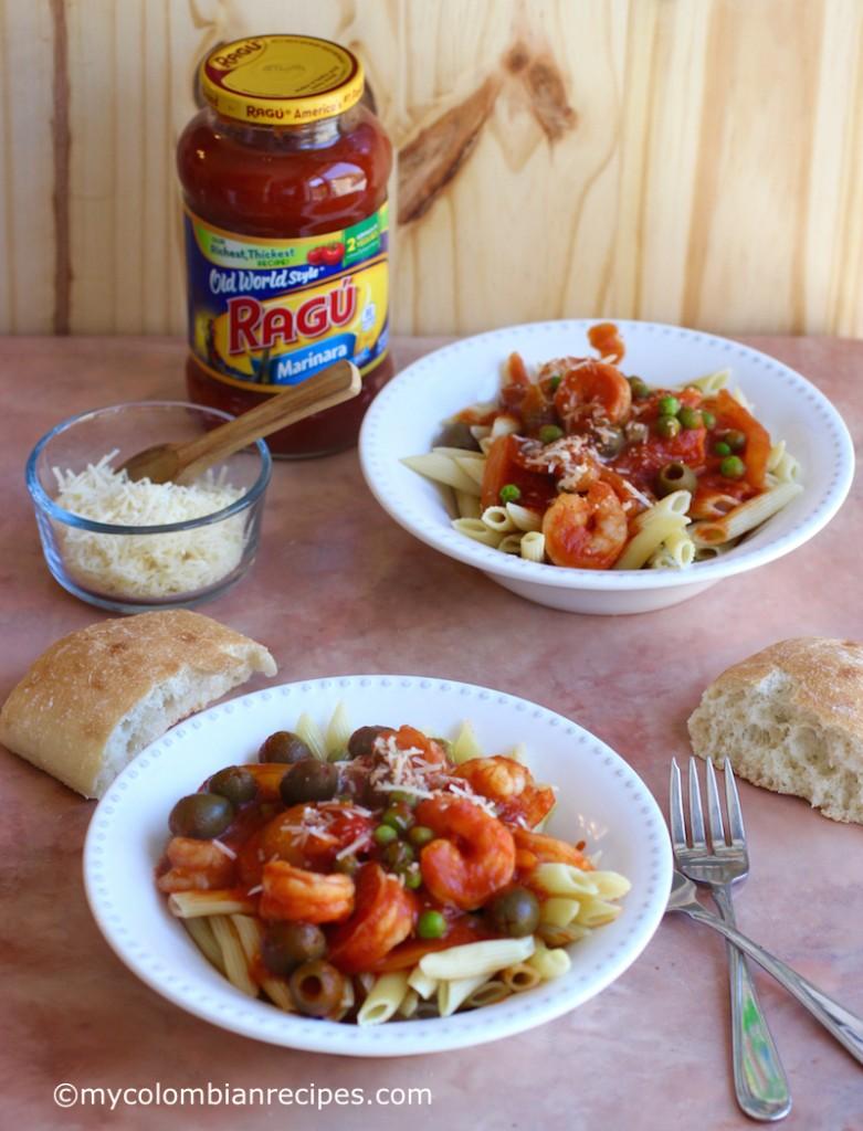 Pasta with Cuban-Creole Shrimp  mycolombianrecipes.com