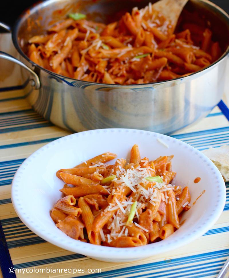 One-Pot Creamy Pasta with Bacon and Chorizo  mycolombianrecipes.com