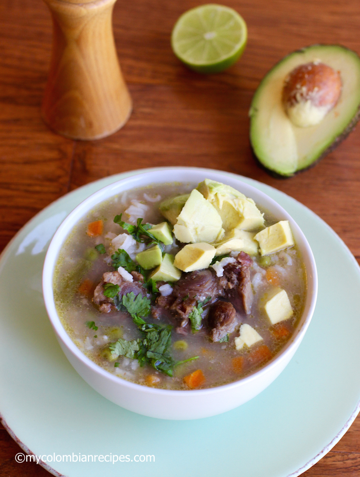 Oxtail, Rice and Vegetable Soup  |mycolombianrecipes.com