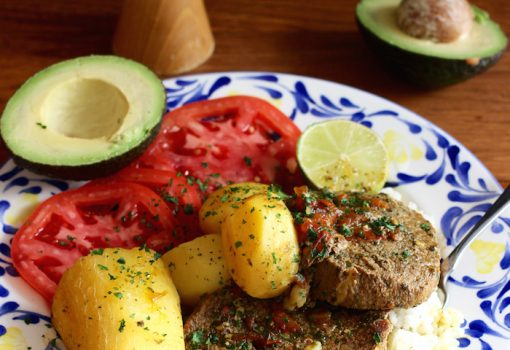 "<span class=""p-name"">Sudado de Posta o Muchacho (Beef Round Steak Stew)</span>"