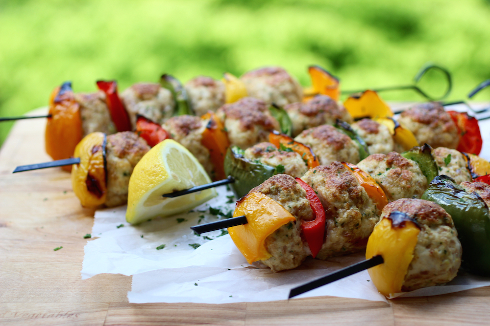 Grilled Turkey Meatball Kebabs