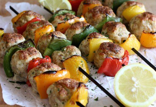 Grilled Turkey Meatball Kebabs