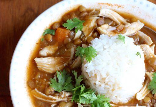 Sopa de Lentejas y Pollo