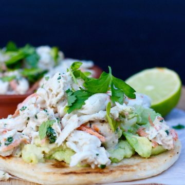 Arepa with Crab Salad and Avocado