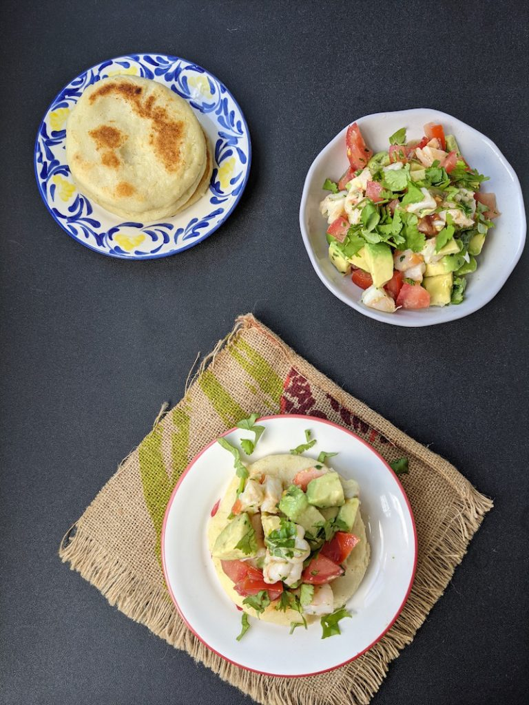 Potato arepa with shrimp